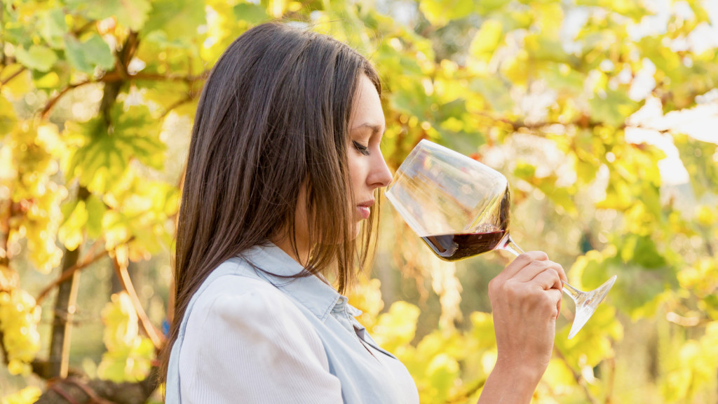 Young Female Winemaker with a Glass smelling the Red Wine near a Vineyard in Tuscany